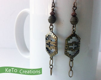 Metal, Chain, and Bead Earrings, Dangling Metal Earrings