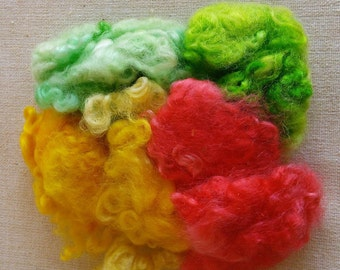 Hand Dyed Romney Wool Locks 3 colors