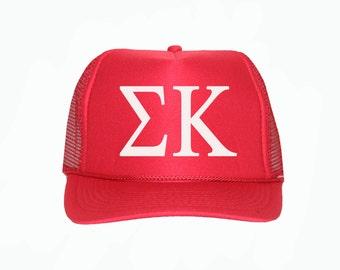 Sigma Kappa Trucker Hat, SK Trucker Hat, Greek Letter Glitter Trucker Hat, Sorority Letter Cap, Greek Trucker hat, Sigma kappa Sorority cap