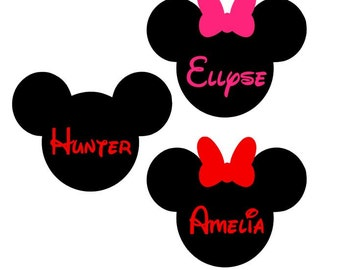 Mickey Minnie with name - Iron on - DIY Applique