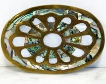Brass,  Abalone and MOP Vintage Belt Buckle Made in Mexico