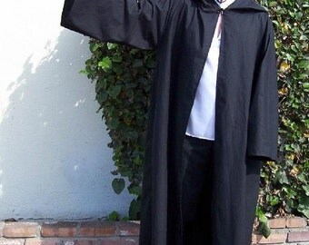 Open Hooded Cotton Robe--Harry Potter Style---Custom up to size 5X--Pagan/Fantasy/Wicca/Ritual/Magician/Halloween