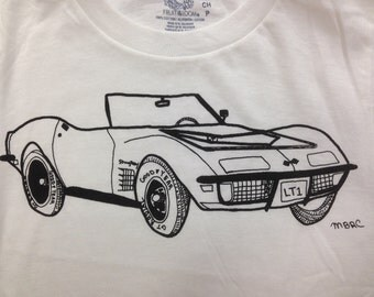 Chevy Corvette Tee Shirt. Corvette Tee Shirt- Children's Gift- Muscle Car Tee Shirt- Classic Car Tee Shirt- Hand Drawn- Size Small