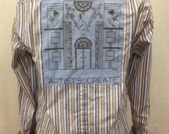 Architect Shirt- Architect Gift- Art Deco Shirt- Art Deco Gift- Artists Shirt- Artists Gift-Hand Drawn- Miami- Size Medium- Sale 35.00