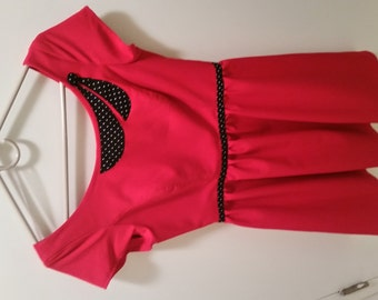 Beautiful red dress with polka dots