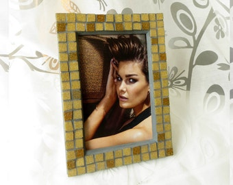 4x6 frame - Mosaic photo frame - Brown frame - Photo frame 4x6 - Picture frame 4x6 - Mosaic art - Brown photo frame - Gift for mother