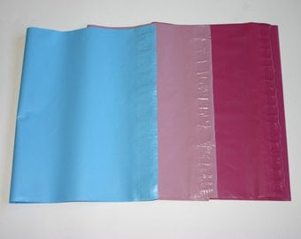 45 12x15.5 Poly Mailers Blue Raspberry Pink Pale Pink 15 Each Self Sealing Envelopes Shipping Bags Spring Easter