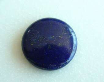 Natural Lapiz Lazuli 22x22x5.5 mm Round Smooth. Dark Lapiz Color. AAA Quality. Mother Earth
