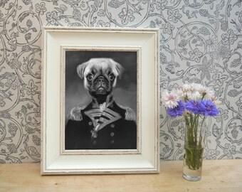 Pug Pet Portrait Framed Print in Black and White