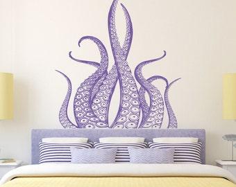 Octopus Wall Decal Tentacles- Kraken Decal Sea Animals Octopus Tentacles Vinyl Wall Decals- Nautical Wall Decals Bedroom Bathroom Decor 035