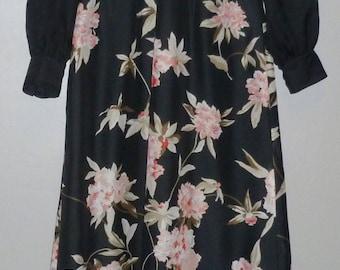 Vintage 1970's Long Sleeved Maxi Dress UK 10 - 12