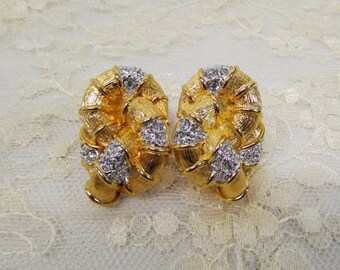 Vintage Cindy Adams Gold-Tone Rhinestone Knot Clip-On Earrings