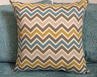 Zoom Zoom Chevron Turquoise Grey Mustard Beige Cushion/Pillow Cover - Coussin/couvre-oreiller