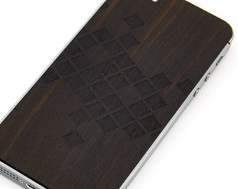 Stickers in wood for smartphone, E-bark, Space Invader