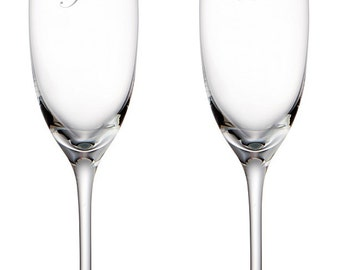 Pair of Me & You Etched Champagne Flutes