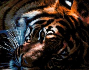 Tiger in Shade Cross Stitch Pattern