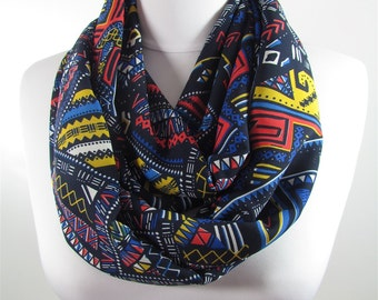 Tribal Scarf Infinity Scarf Women Blue Circle Scarf Winter Geometric Scarf Christmas Gift For Her For Women Fall Winter Accessories Fatoz