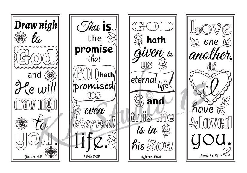 It is a picture of Fabulous Free Printable Bible Verse Bookmarks to Color