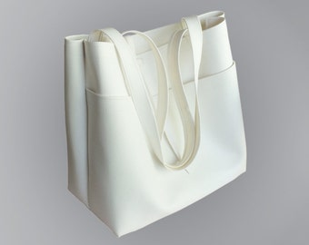 White Vegan Faux Leather 2-Pocket Minimalist Tote Bag
