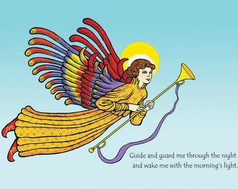Guardian Angel print-Traditional renaissance angel, spiritual,Christian, home decor,peace, prayer