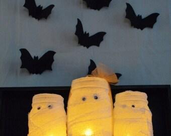 Mummy Mason Jar Flameless Candle Votives