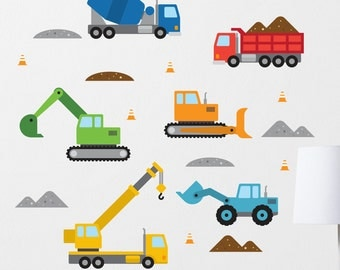 Construction Wall Decal, Bulldozer Wall Decal, Construction Decal, Dump Truck Decal, Digger Wall Decal, Construction Vehicles, Boys Decal