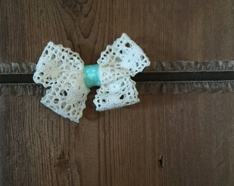 Turquoise and Brown Bow