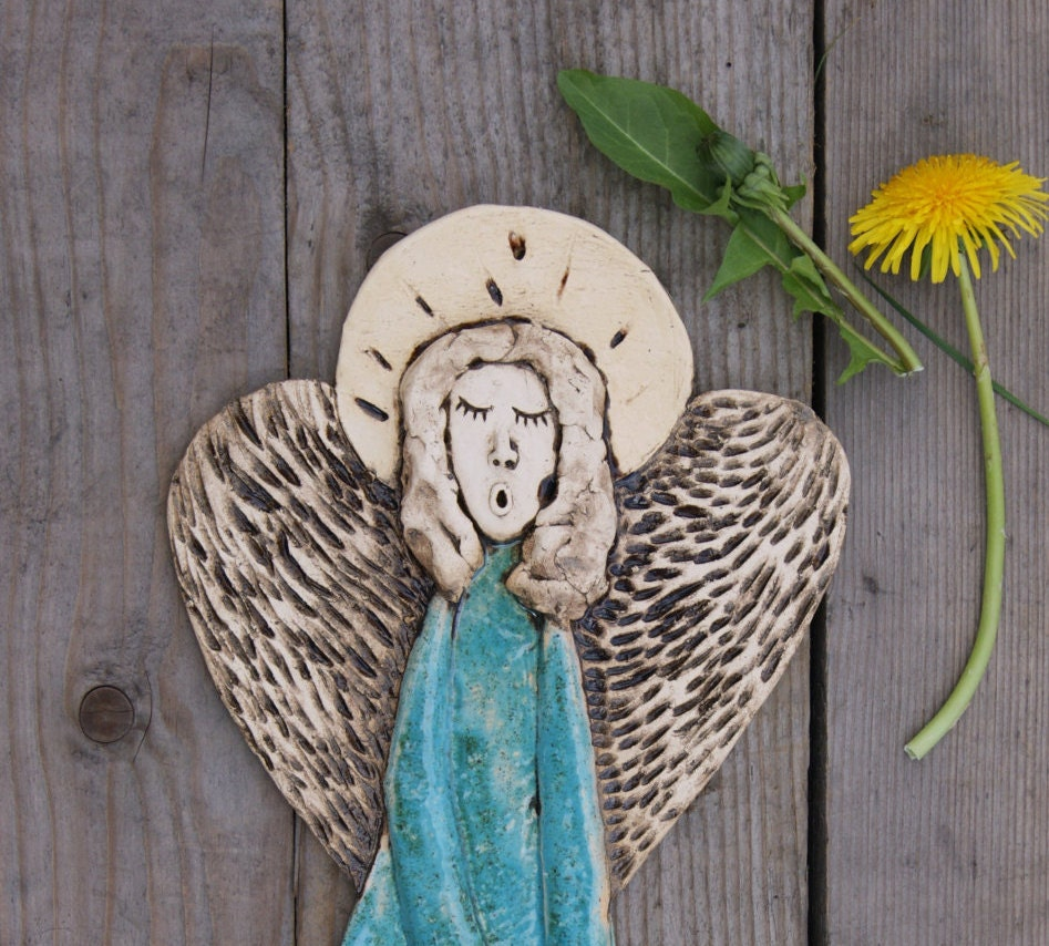 Ceramic Angel Wall Decor Guardian Angel By GlinianaKoniczynka