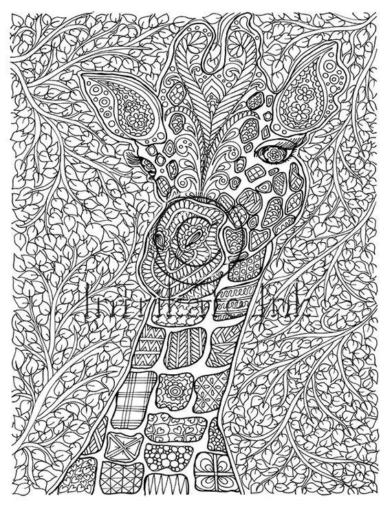 Giraffe Coloring Page Animal Coloring Wild by IntrikateInk