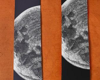 Moon Necktie - SILK Neck Tie - Moon Print - Menswear - Night Sky - Full Moon - Brother Gift - Men's Silk Tie