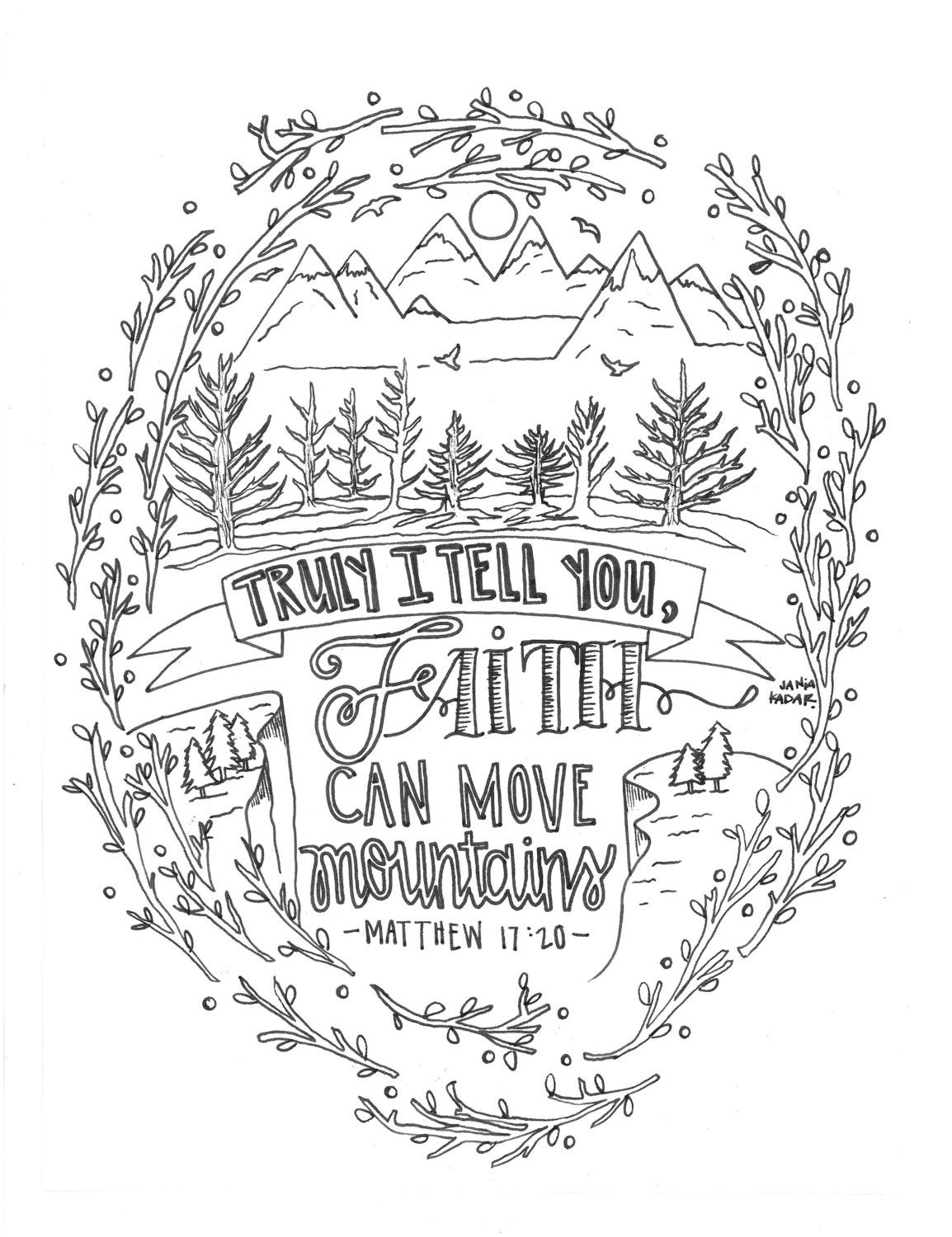 Truly I tell you faith can move mountains coloring page PDF
