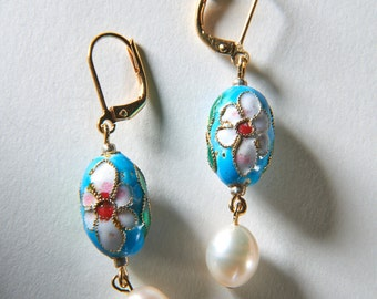 Little Egg Turquoise Floral Cloisonné Earrrings
