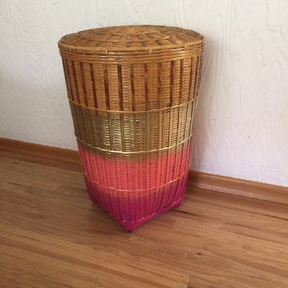 Wicker hamper with lid gold pink storage by thegoodwillowshop - Rattan laundry basket with lid ...