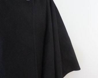 Mid Century Black Wool Cape / Funnel Neck / Heavy, Lined / Coatique / 1950s Winter Mantle / Modern Large to Extra Large