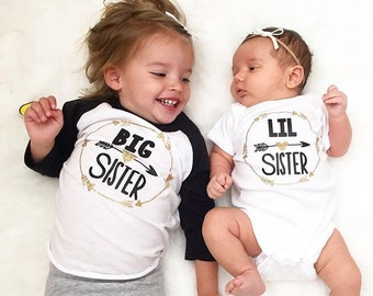 Big Sister and Little Sister Raglan/Onesie Set