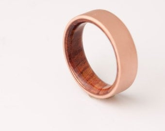 copper wedding band copper wood ring cocobolo ring man ring - Wedding Band Rings