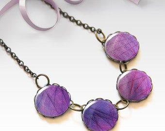 Purple necklace, Bridesmaid gift, Glass dome necklace, Boho jewelry for women, Chunky bib necklace, Gift idea, 5090-6