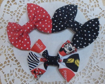 Set of 3 Minnie Mouse Bow, Bow for Girls, Baby Bow, Toddler Bow, Red Hair Bow, Black Hair Bow, Baby Bow, Girls bow, Hair Accessories