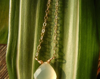 Barely Blue Chalcedony Gemstone Drop Necklace