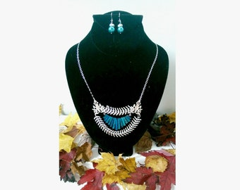 Aqua Art Nouveau Silver Necklace, Geometric Necklace, Art Nouveau Jewelry, Silver Necklaces