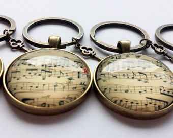 Vintage Music sheet Keyring - With Key Charm
