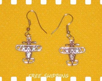 metal airplanes dangle earrings