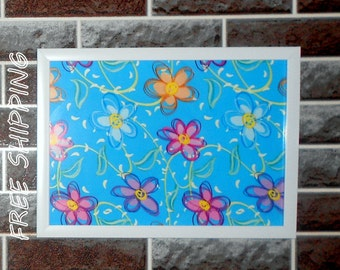 wall decor, wall picture, kids room decor flowers print in frame