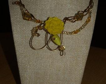 Yellow flash flower necklace, bronze wire