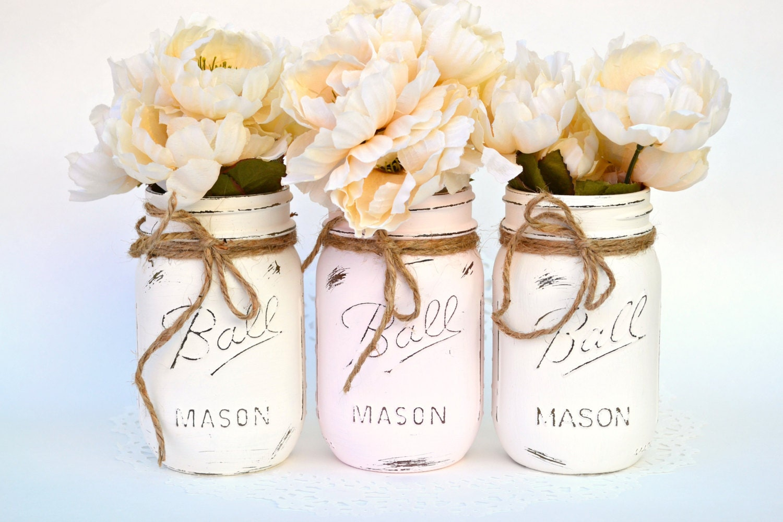 white pink jars mason jar decor painted mason jar. Black Bedroom Furniture Sets. Home Design Ideas