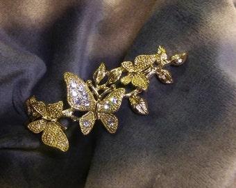 Vintage Golden Butterfly Mariposa Crystal BLING Finger Ring