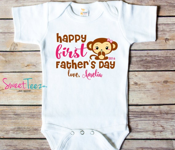 First Father 39 S Day Shirt Monkey Pink Daddy Baby Girl Boy