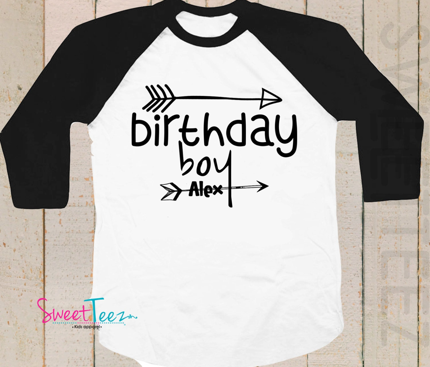 Birthday Boy Shirt Arrows Personalized Black Blue Raglan 3 4th Sleeve Toddler Youth