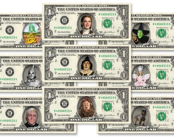 WIZARD OF OZ 9-set Dollar Bill Collection - Made with Real Money Cash Currency