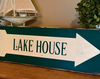 lake arrow sign, lake home sign, arrow sign, reverse arrow, lake house sign, housewarming gift, lake cabin decor, distressed wood sign